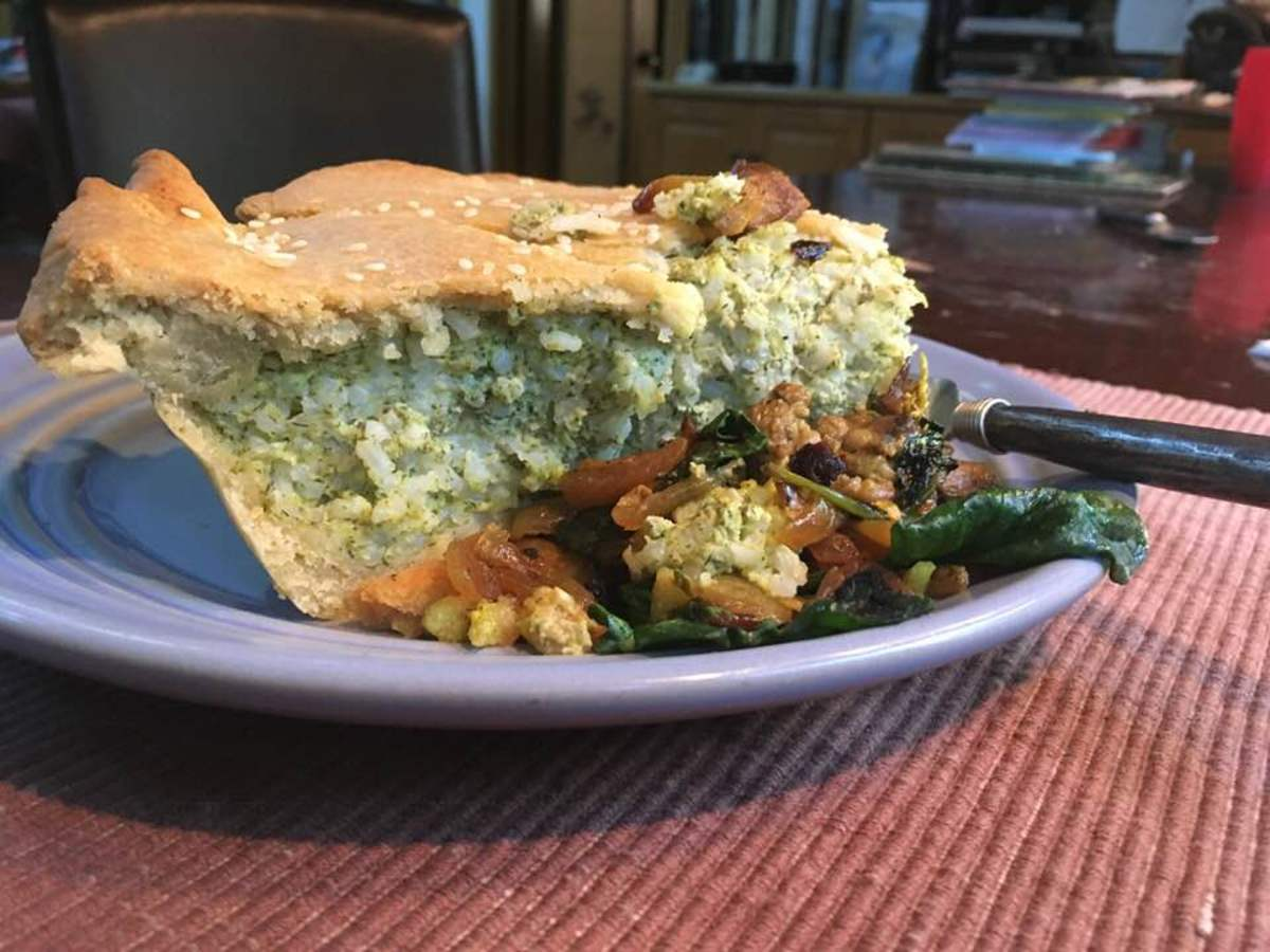 Vegetarian Savory Pie With Rice, Feta, and Yogurt: Recipe