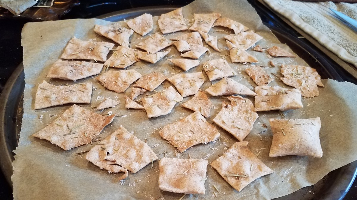 These are my homemade whole wheat rosemary crackers.