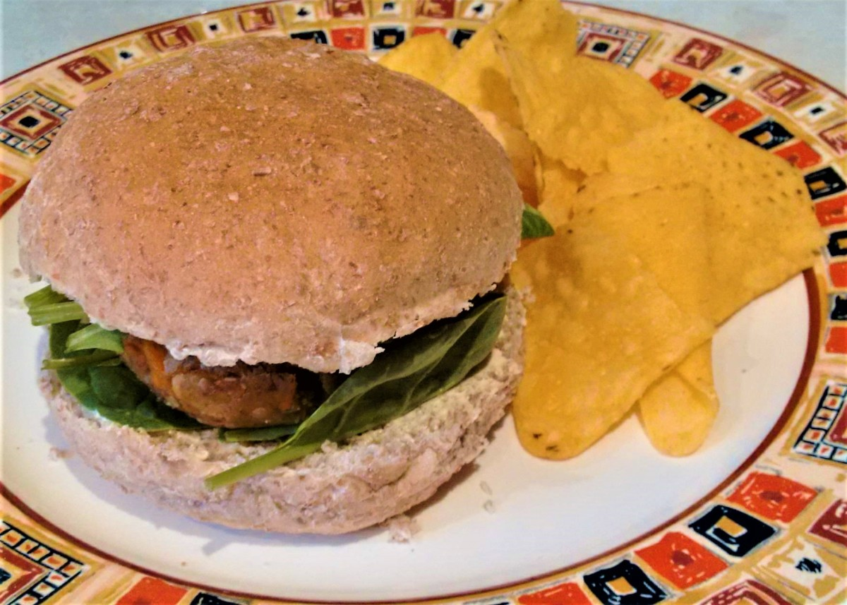 One of my vegan tempeh and carrot burgers in a nice wholemeal bun.