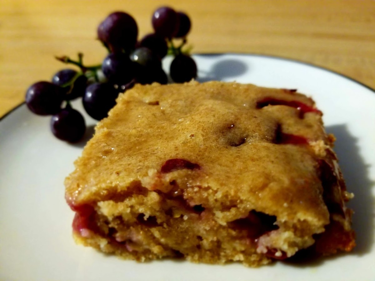 Whole Wheat Harvest Grape Cake With Honey Glaze