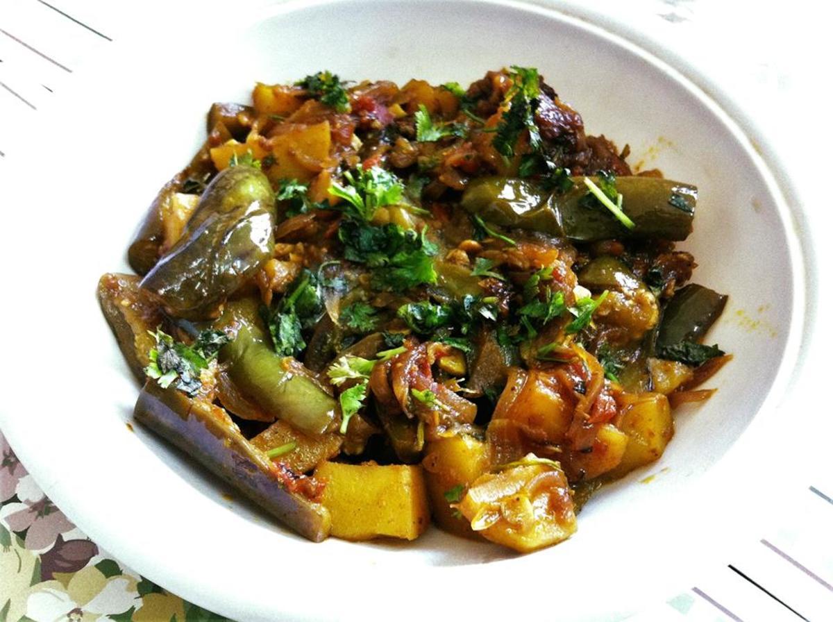 Potato and Eggplant vegetable prepared Punjabi style