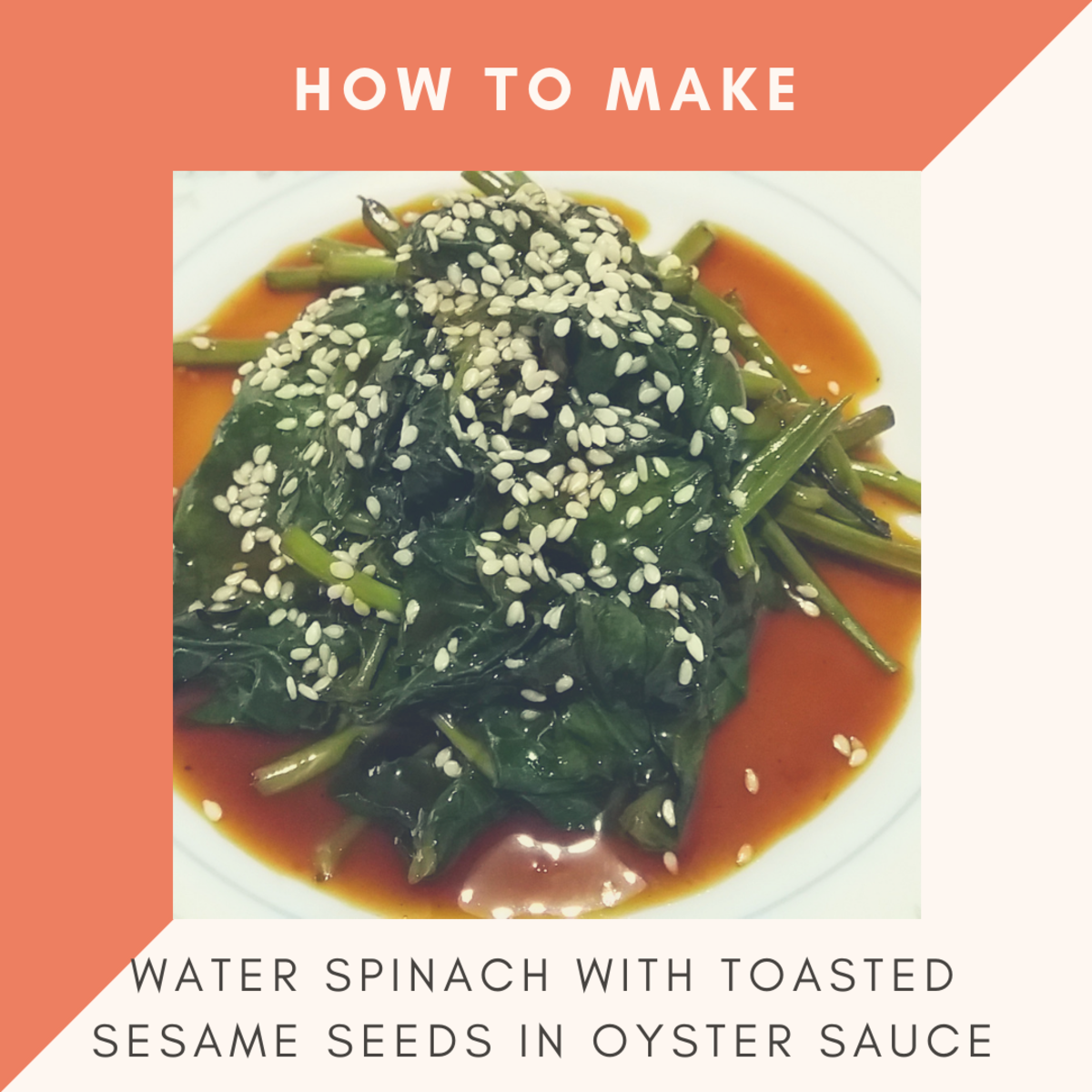 how to make water spinach with toasted sesame seeds in oyster sauce