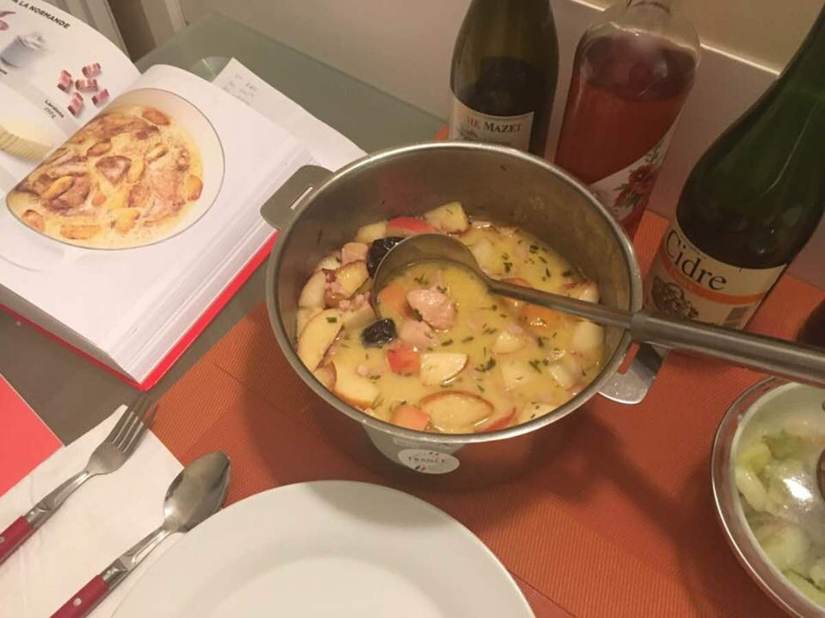 Chicken in a Cream-Cider Sauce With Prunes and Apples Recipe
