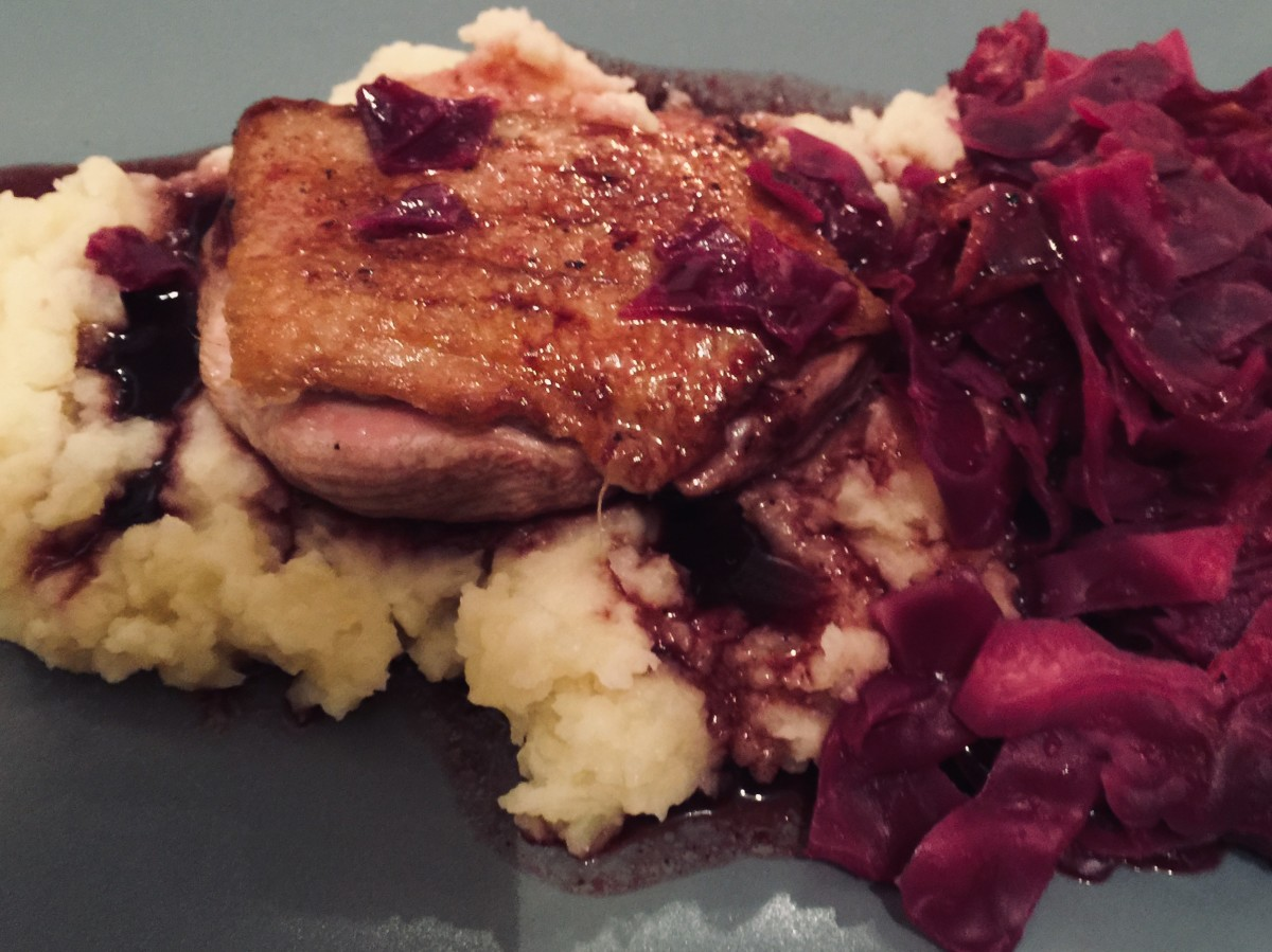 Duck Breast With Red Cabbage and Creamy Mash