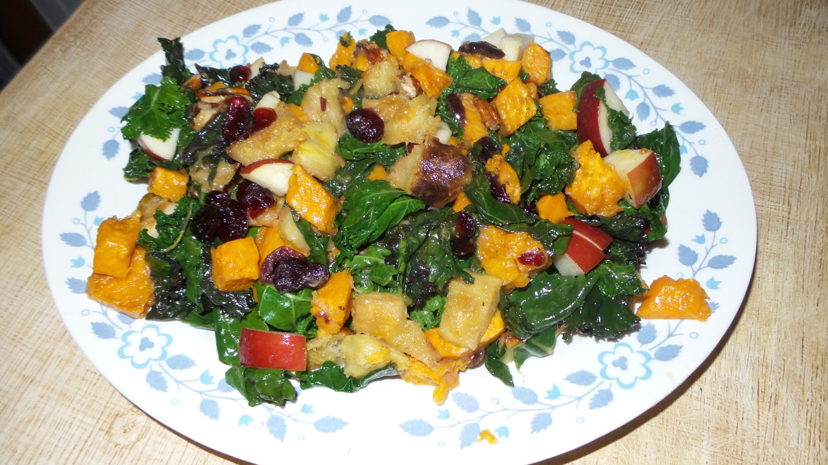 Sauteed Greens With Roasted Acorn Squash, Apple, and Cranberries