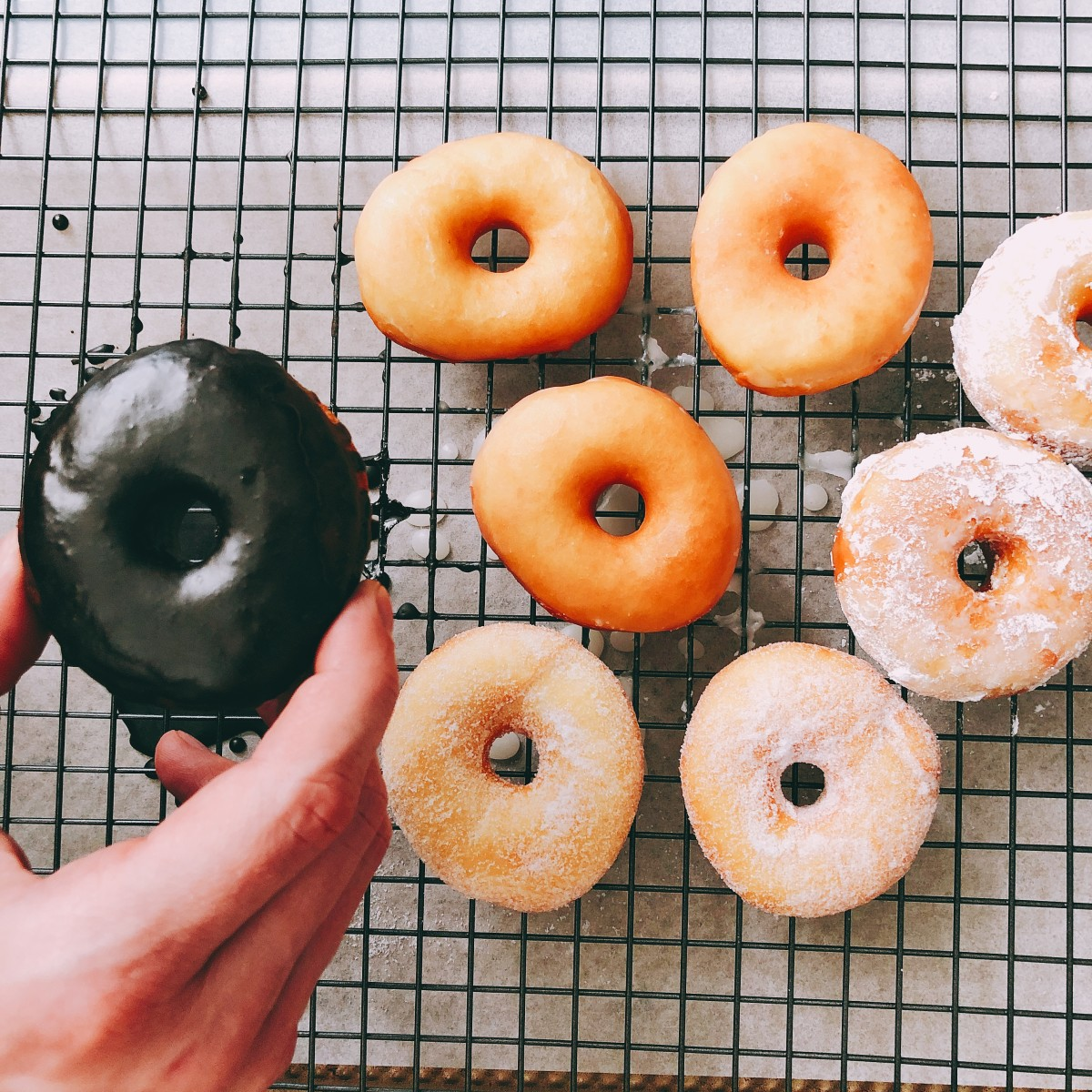 Easy Homemade Sugar Glazed and Chocolate Glazed Donuts