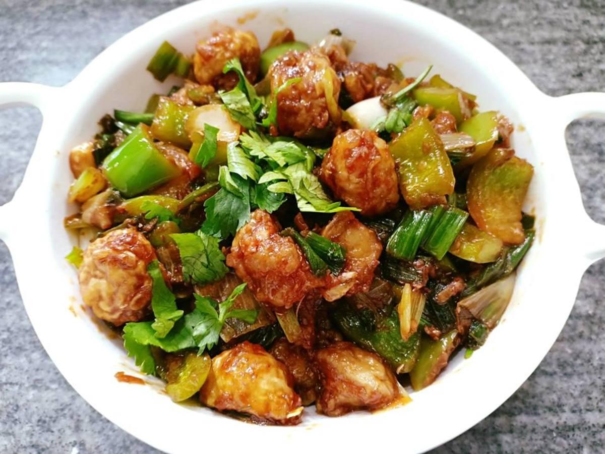 Mushroom Manchurian is a crispy, spicy dish.