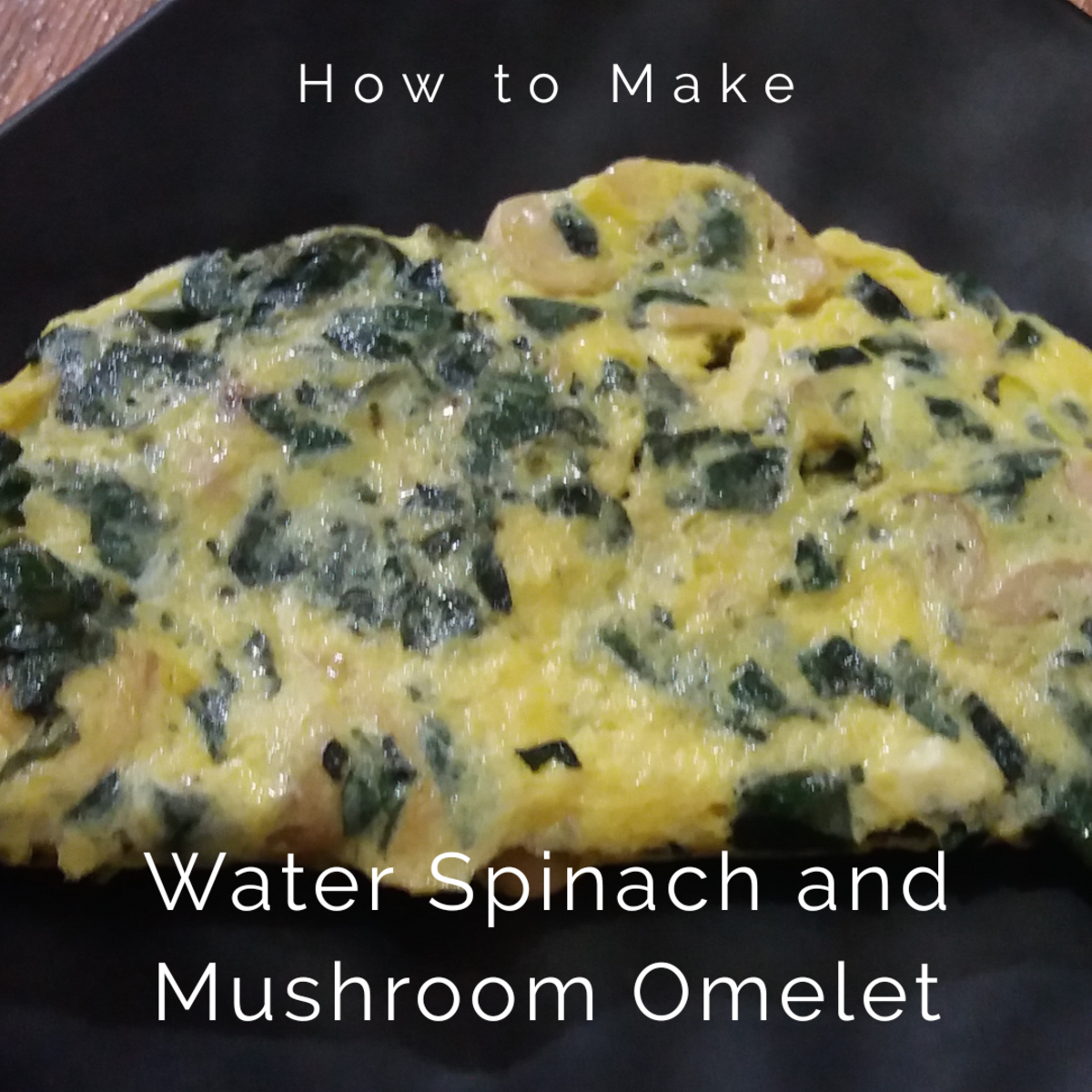 How to Make Water Spinach and Mushroom Omelet