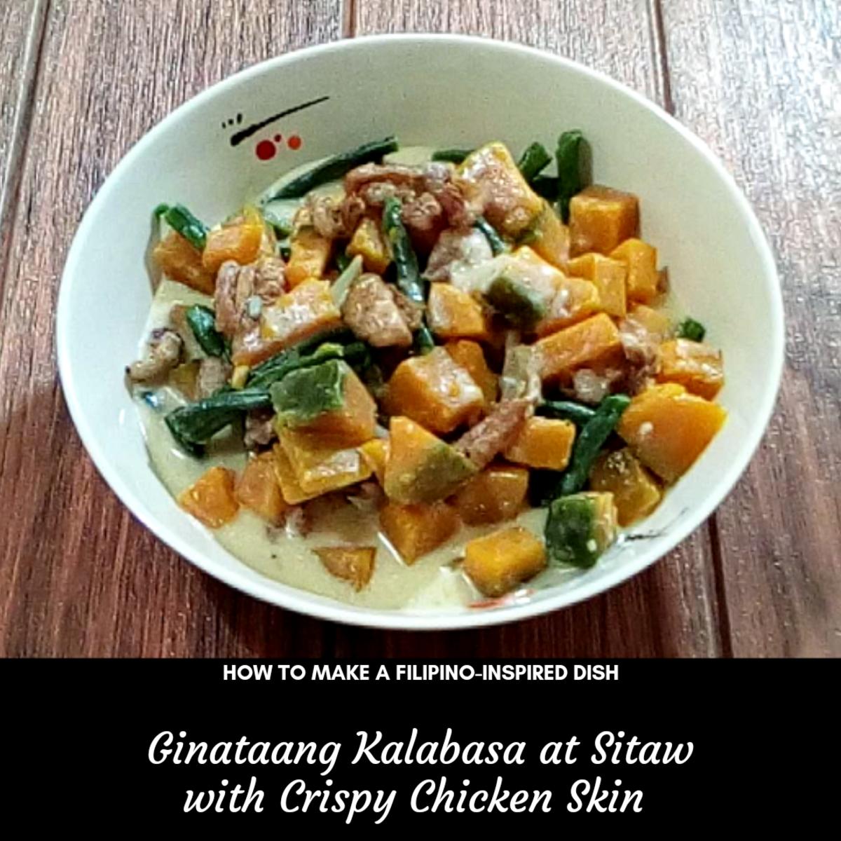Learn how to make ginataang kalabasa at sitaw with crispy chicken skin, a Filipino-inspired dish.