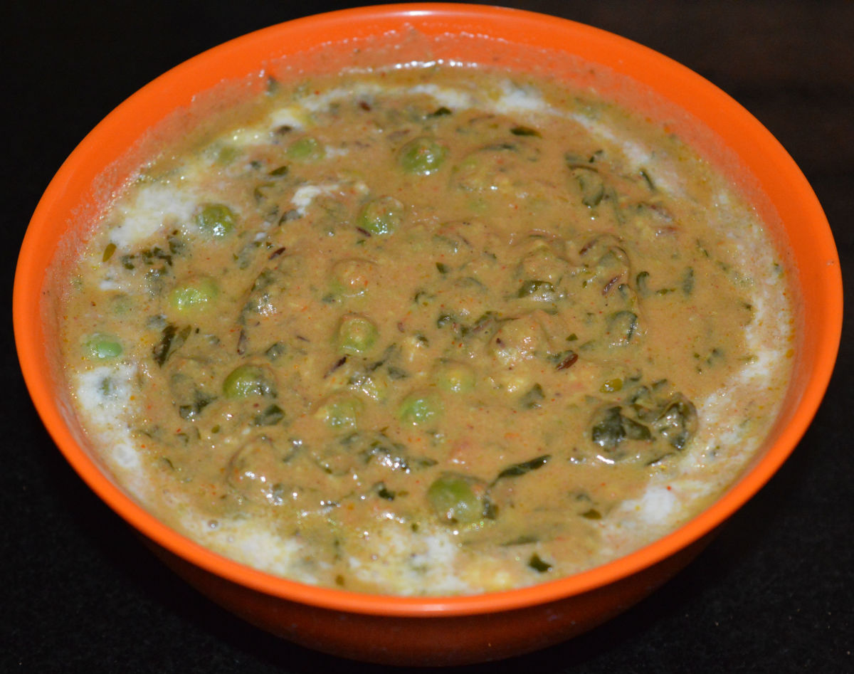 Methi matar malai: a creamy curry made with fenugreek leaves and green peas.