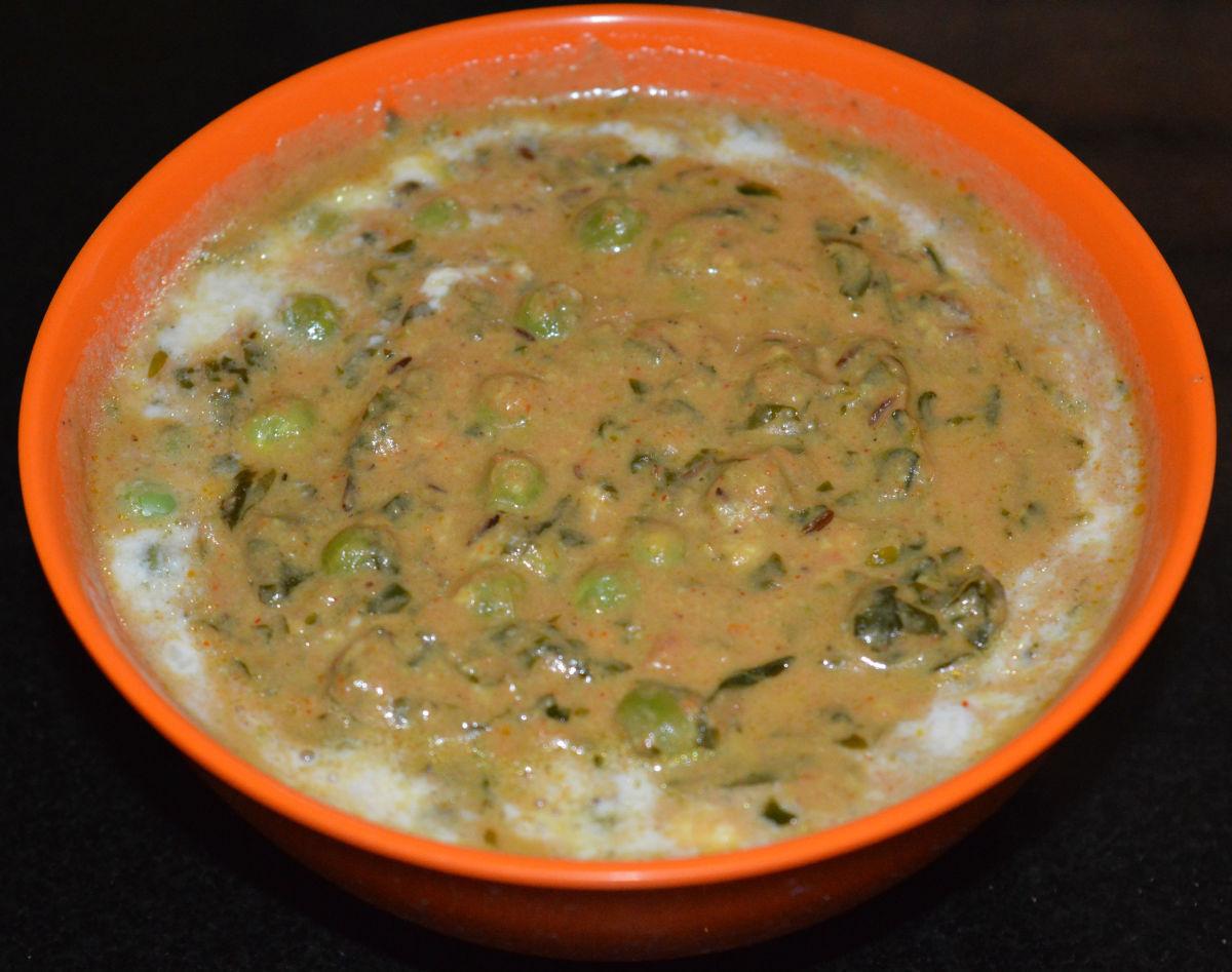 Methi Matar Malai Recipe (Fenugreek and Green Pea Curry)