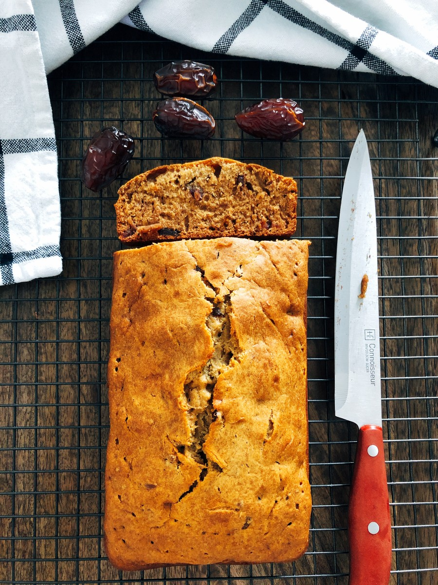 Delicious freshly baked date bread.