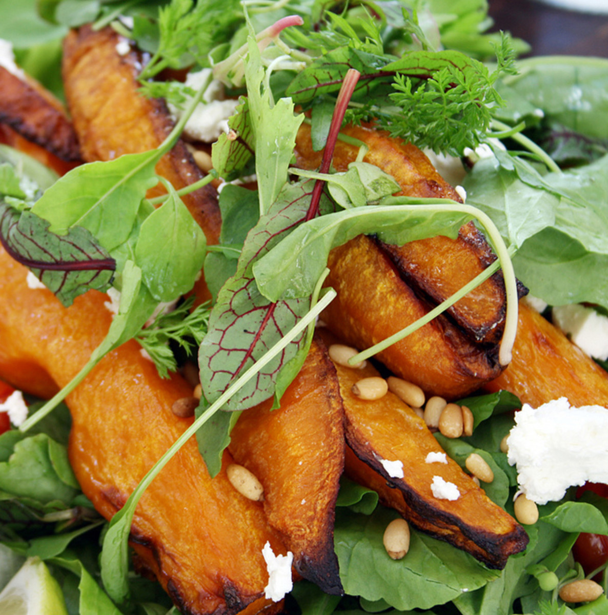 Easy Butternut Squash, Goat Cheese, Rocket, and Pine Nut Salad