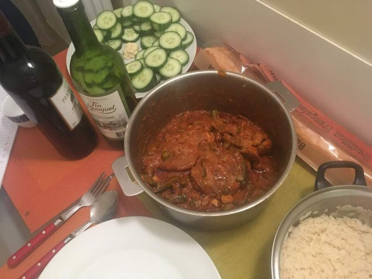 seasoned pork chops sautéed in a caper, pickle, and tomato sauce recipe