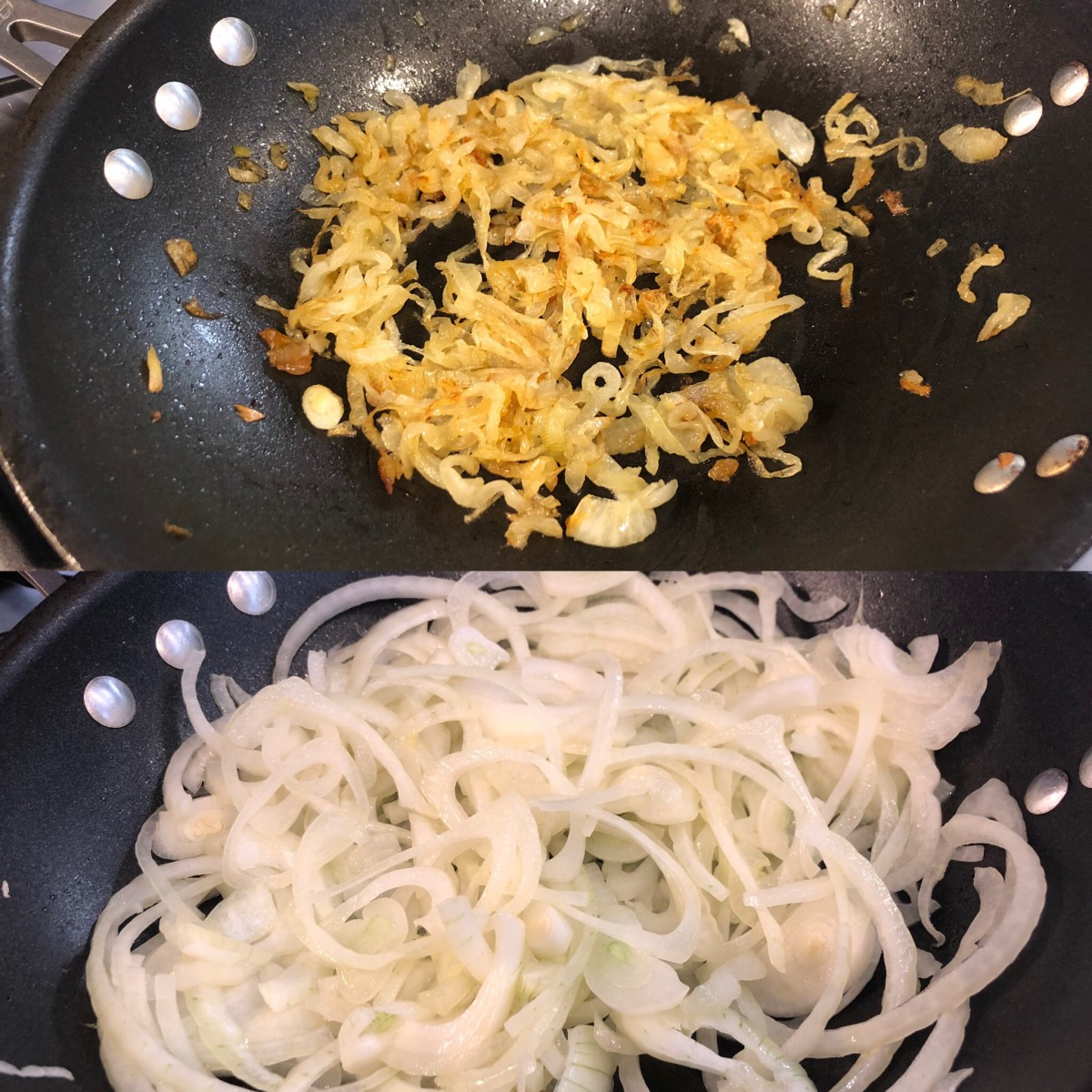 Before (bottom): The raw onions fill up the entire pan. After (top): The onions will reduce down significantly after an hour of cooking.