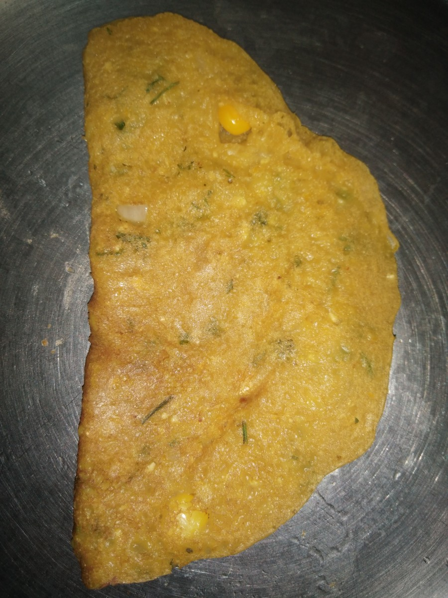 Sweet and Spicy Dosa Recipe (Corn-Wheat Flour Pancake)
