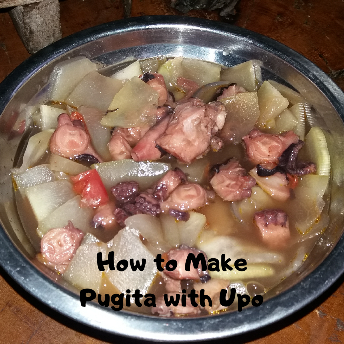 How to make pugita with upo (octopus with calabash).