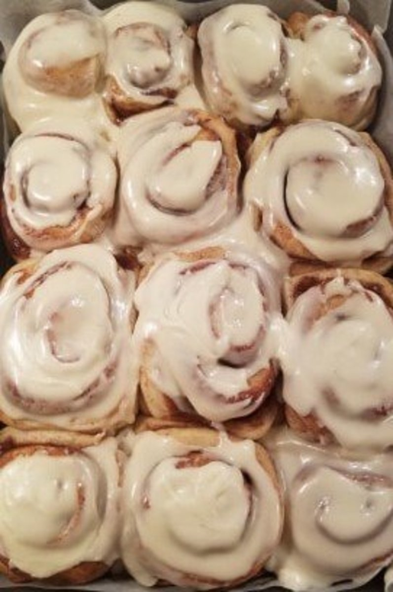 A batch of huge, gooey, and allergy-friendly cinnamon rolls.