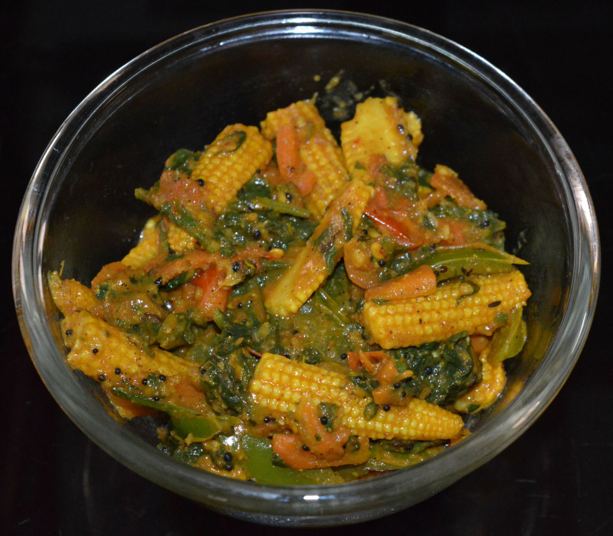 Quick and easy baby corn spinach curry