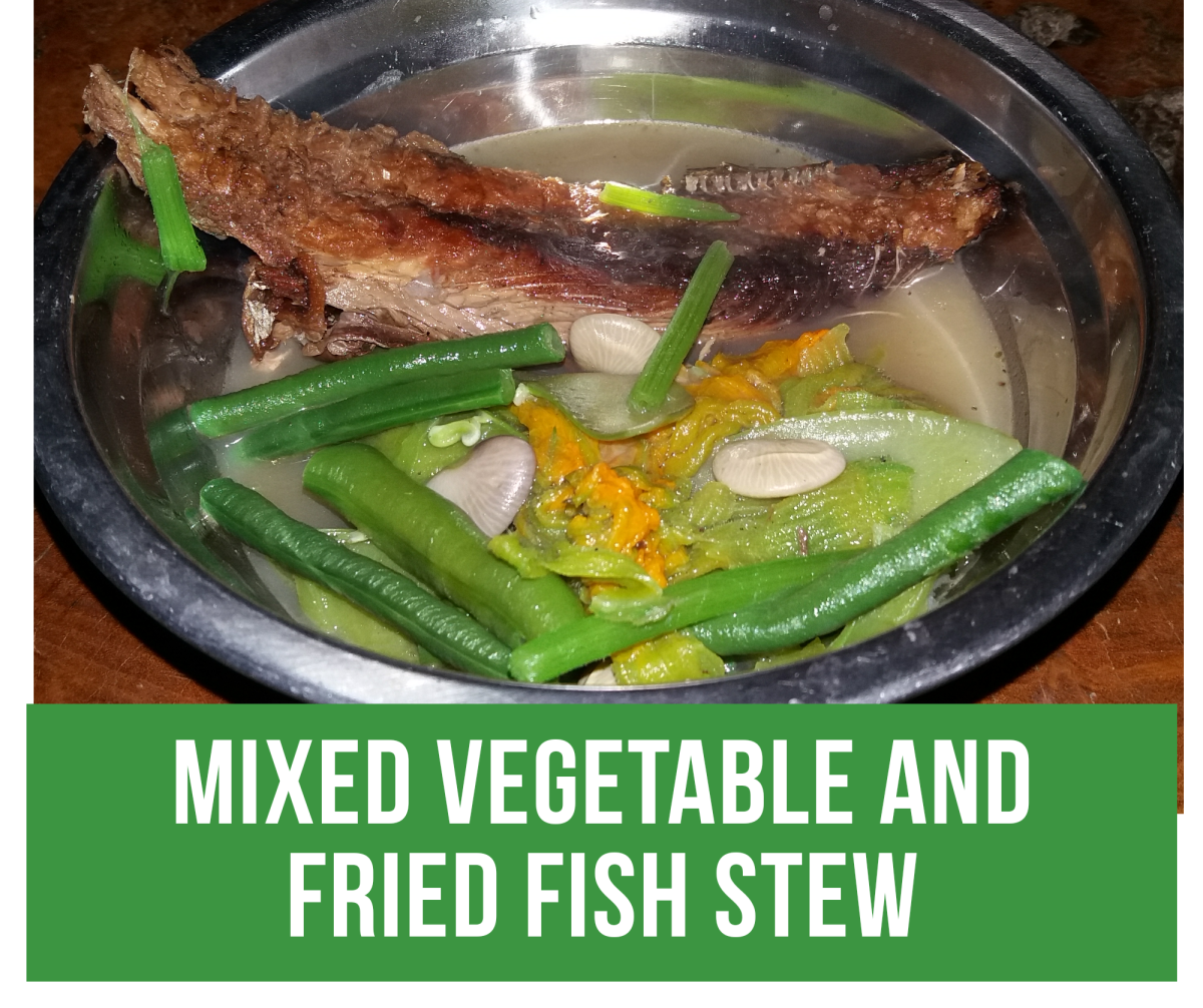 How to cook mixed vegetable and fried fish stew.