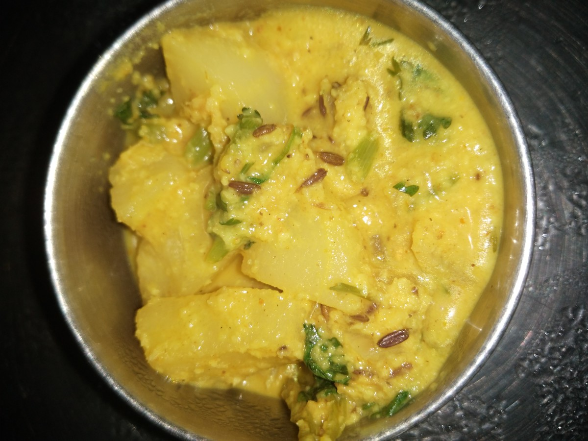 A potato kurma made in the South Indian style.