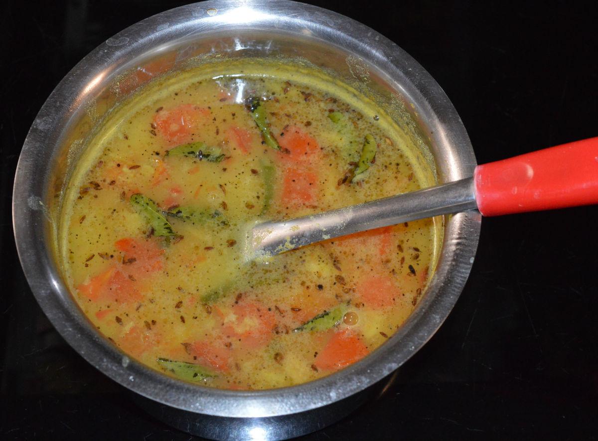 Moong dal rasam (split mung bean soup)