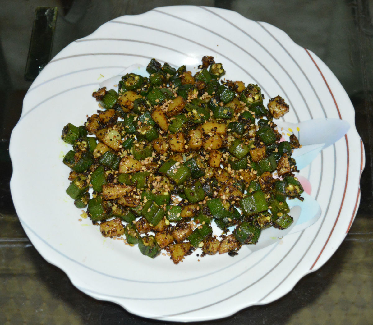 Okra and potato hash