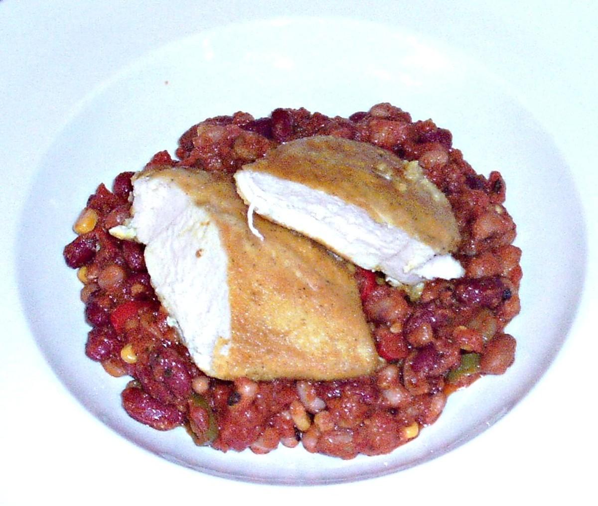 Spicy Fried Chicken and Warm Bean Salad Recipe