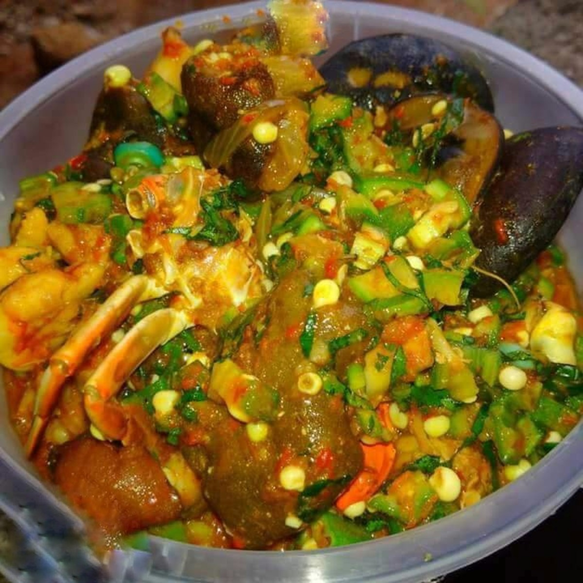 Okra stew is commonly called okro soup in Nigeria.