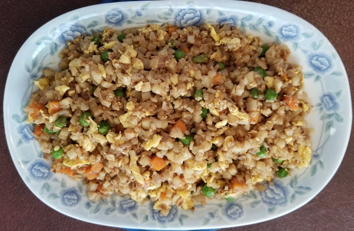 """Cauliflower """"fried rice"""" with Chinese Five Spice."""
