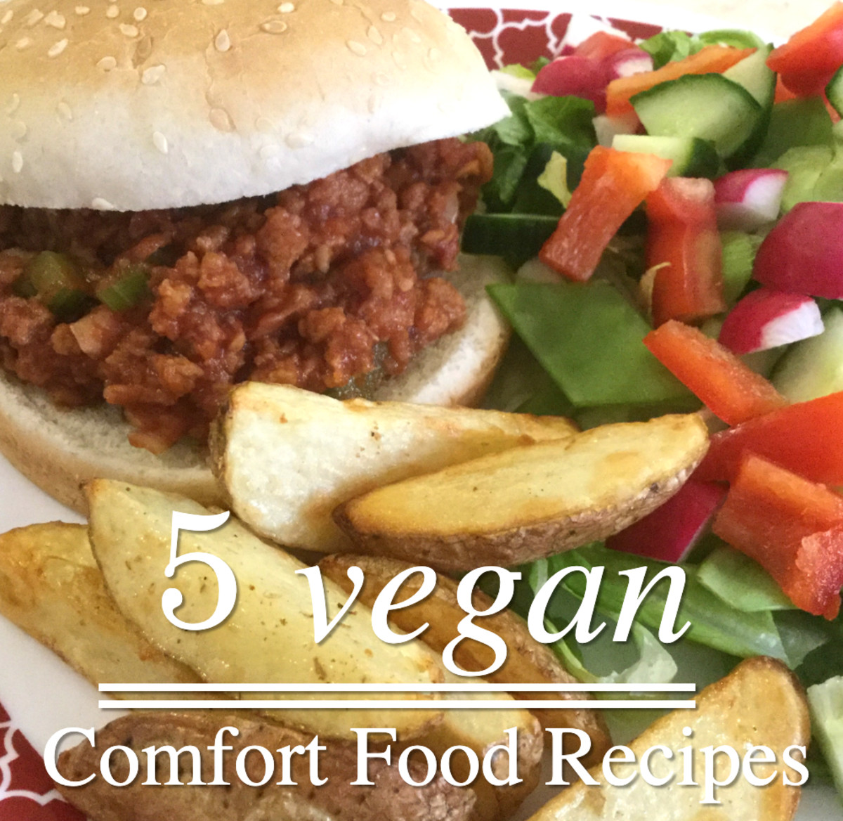 Learn how to make the vegan Sloppy Joe's shown in this photo, along with some other comfort foods.