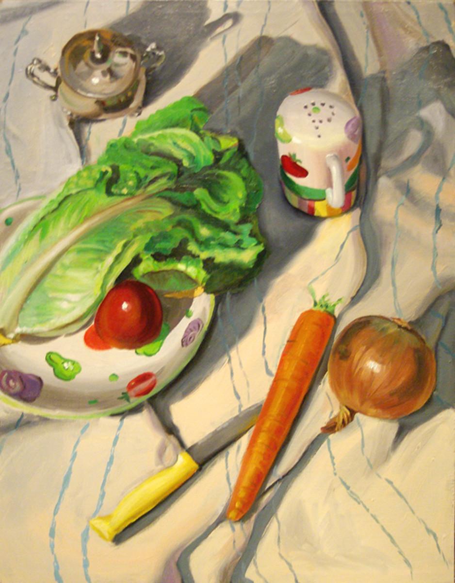 Oil painting of salad makings.