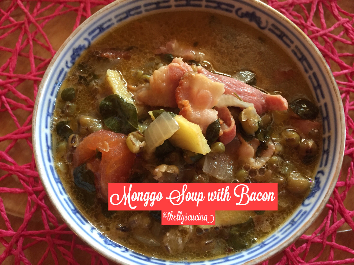 Delicious monggo bean soup with bacon.