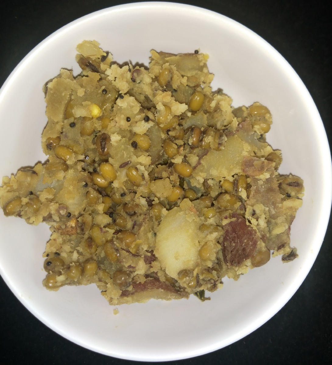 Sweet potato green gram stir-fry.