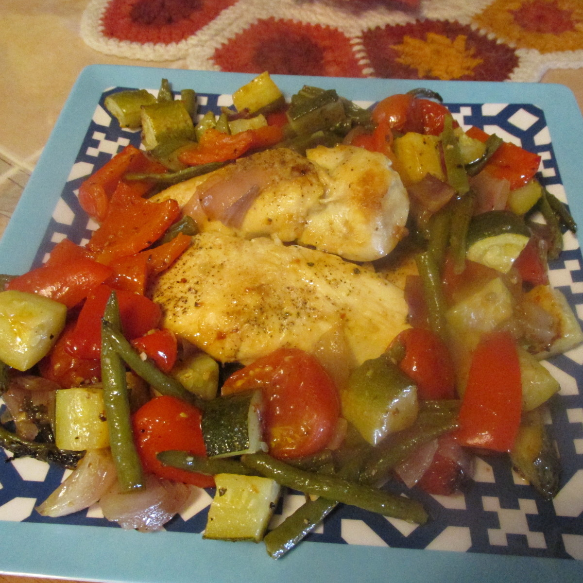 Pan-roasted chicken with savory summer vegetables