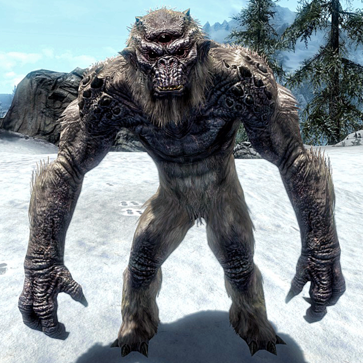 A frost troll, one of the randomly generated animals to battle in Skyrim