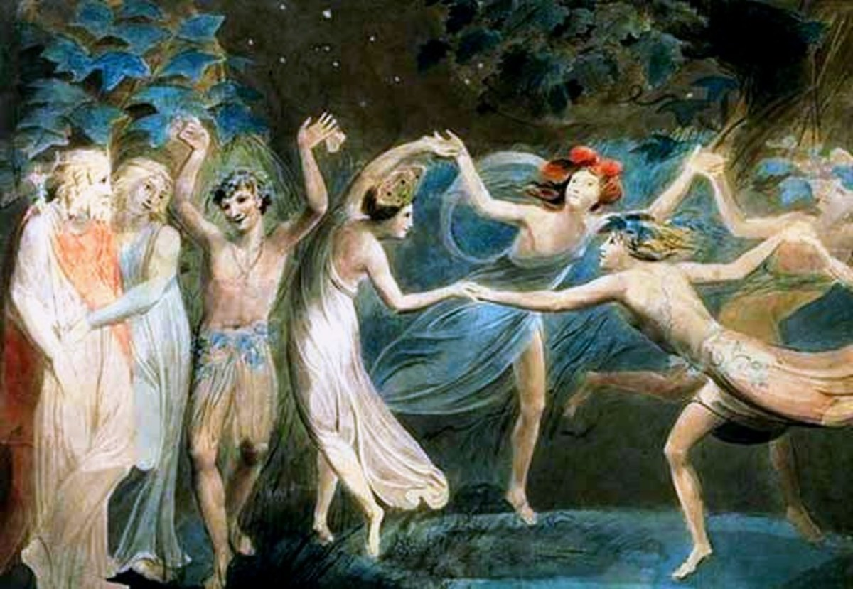 William Blake's depiction of a scene from Shakespeare's A Midsummer Night's Dream