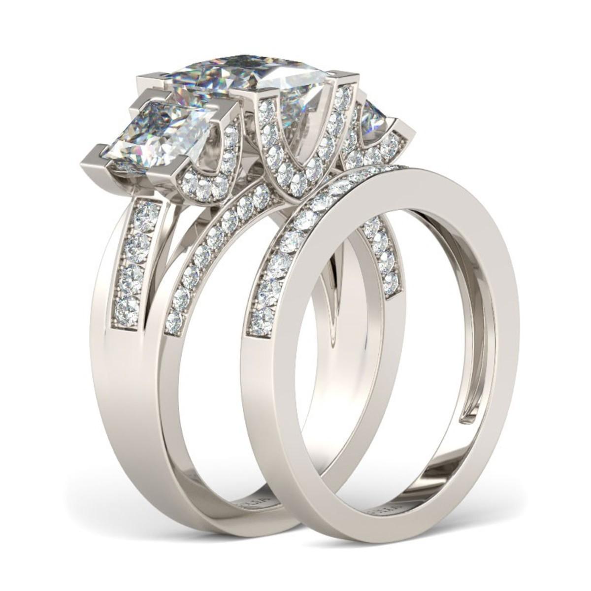Rhodium Plated 925 Sterling Silver Women's Wedding Ring