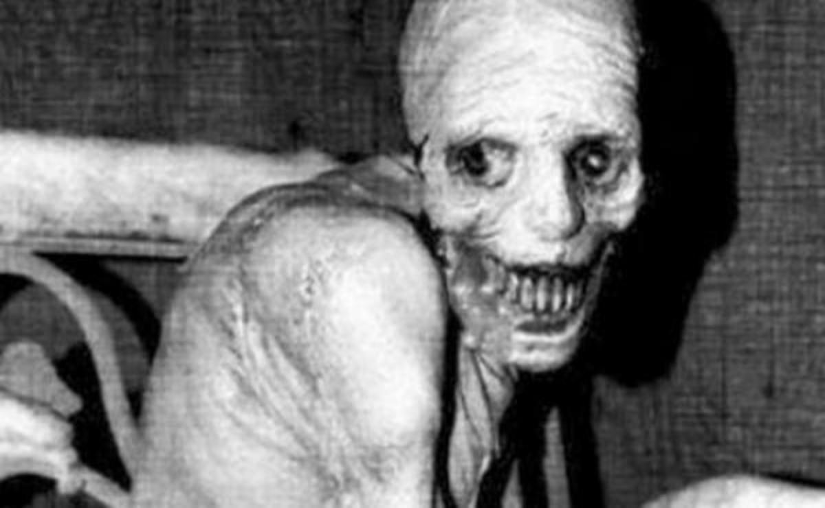 "An image now famously associated with the creepypasta ""The Russian Sleep Experiment."" Don't worry, it's just a Halloween decoration called Spazm."