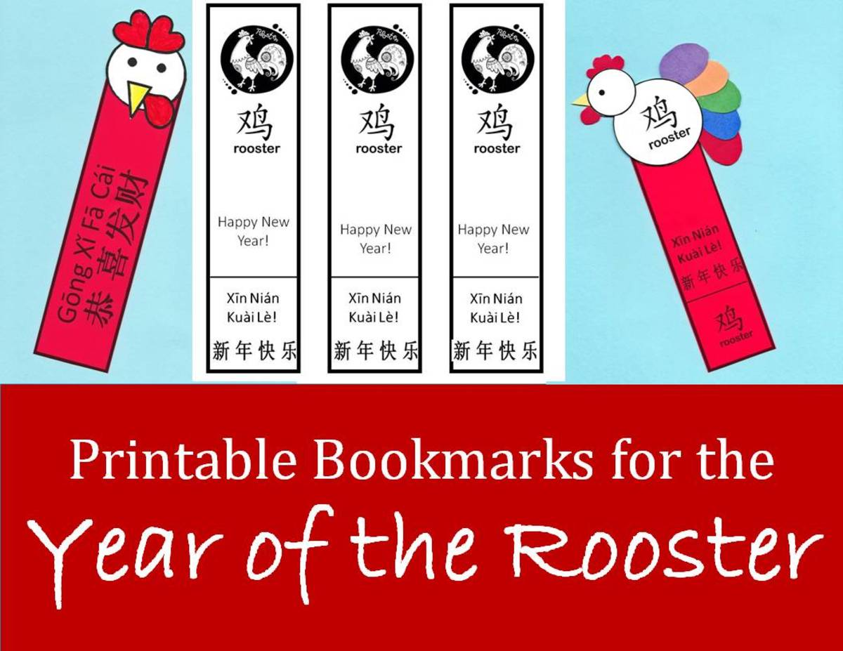 Printable Rooster Bookmarks for Chinese New Year: Kid Crafts for the Year of the Rooster