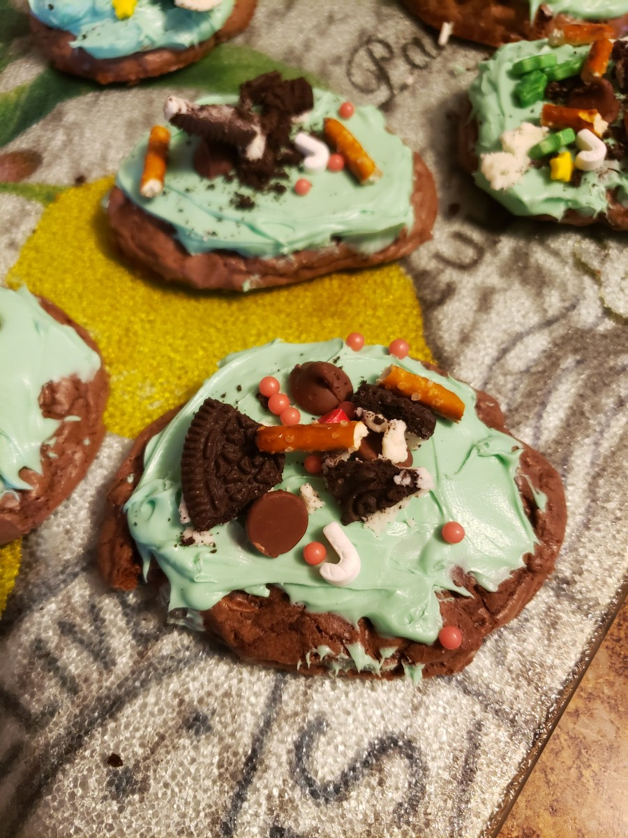 Break pretzel sticks and add to cookies.