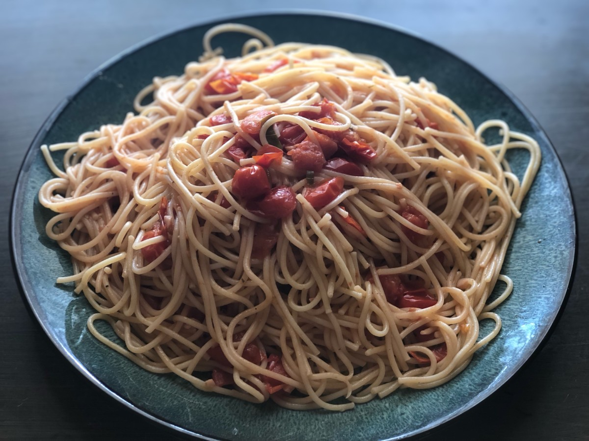 Tomato sauce made with tiny tomatoes (grape or cherry tomatoes)
