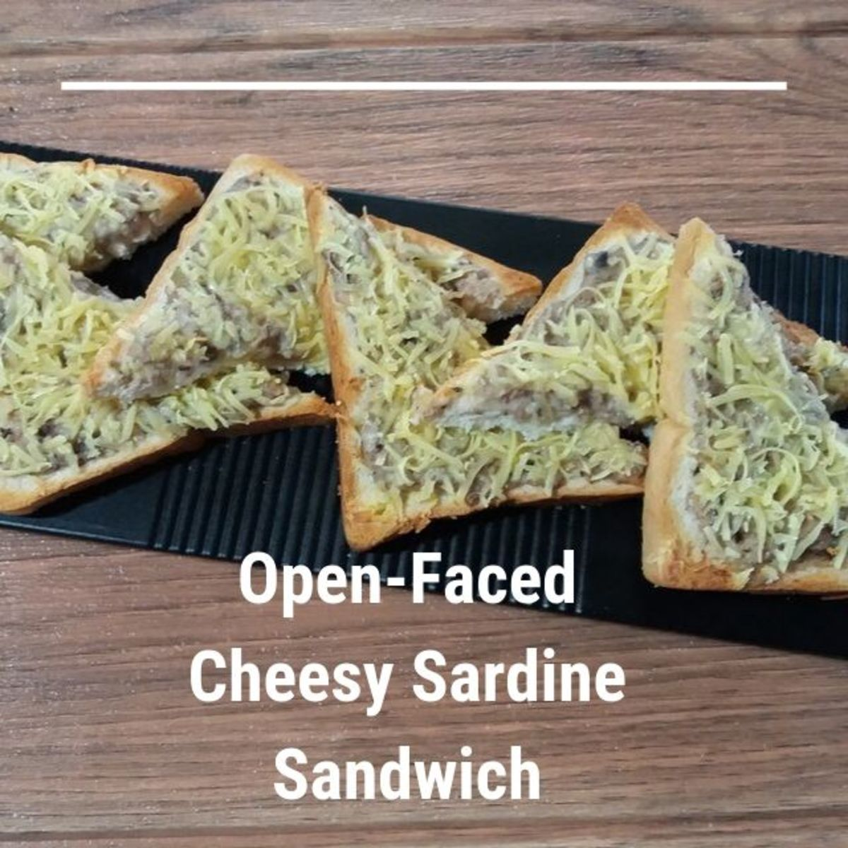 Learn how to prepare an open-faced cheesy sardine sandwich