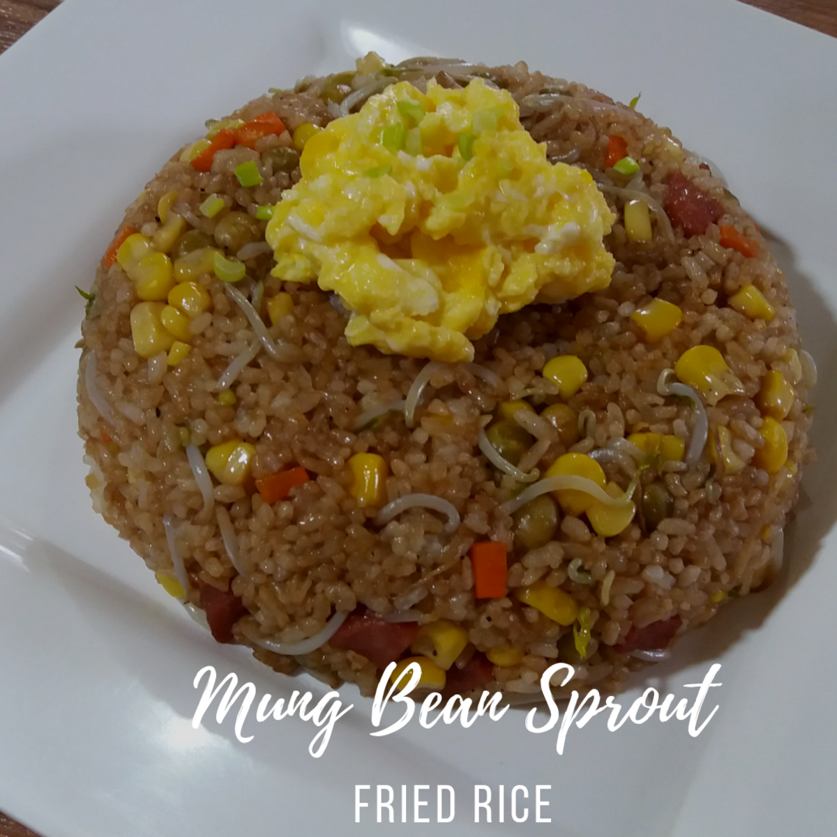 Fried rice with mung bean sprouts