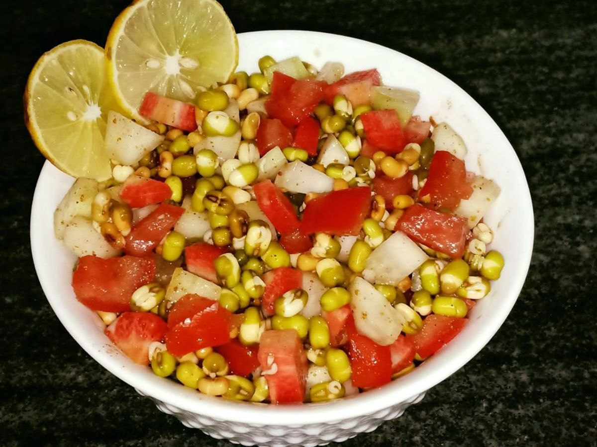 Sprouts Salad Recipe - Moong Sprouts Salad