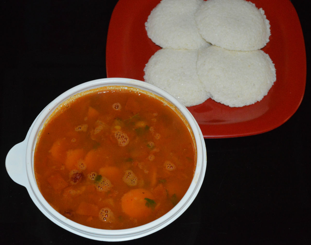 Small onion sambar served with idli