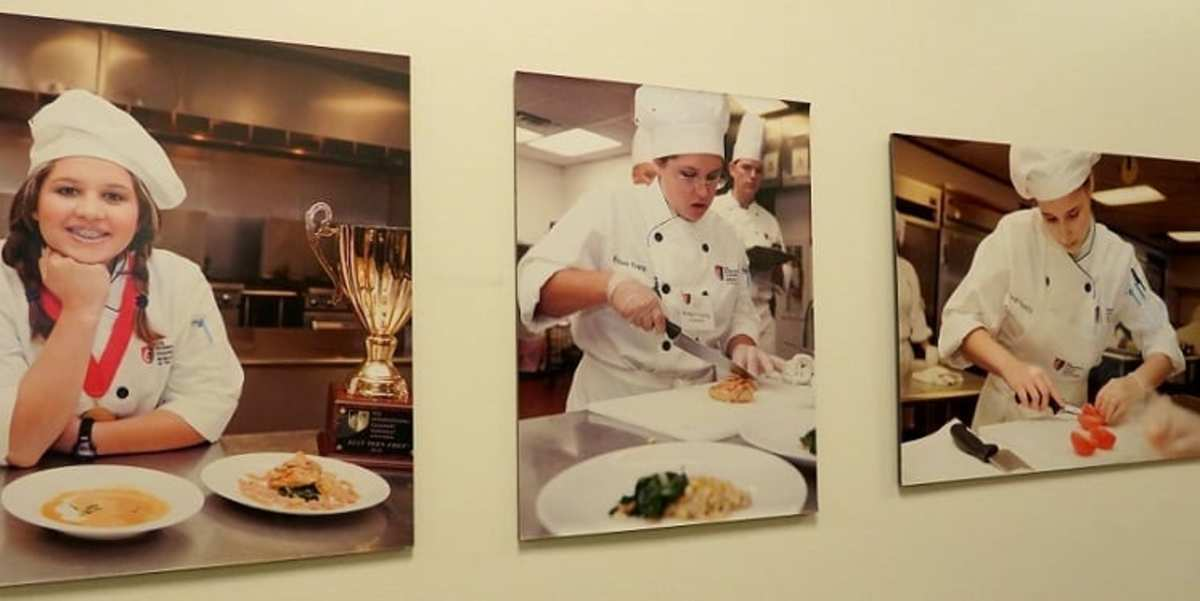 Photos of student chefs at Courses Restaurant at the Art Institute of Houston