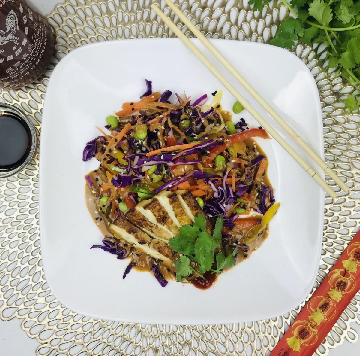 Rainbow Salad With a Spicy Peanut Dressing (Vegan, Gluten-Free)
