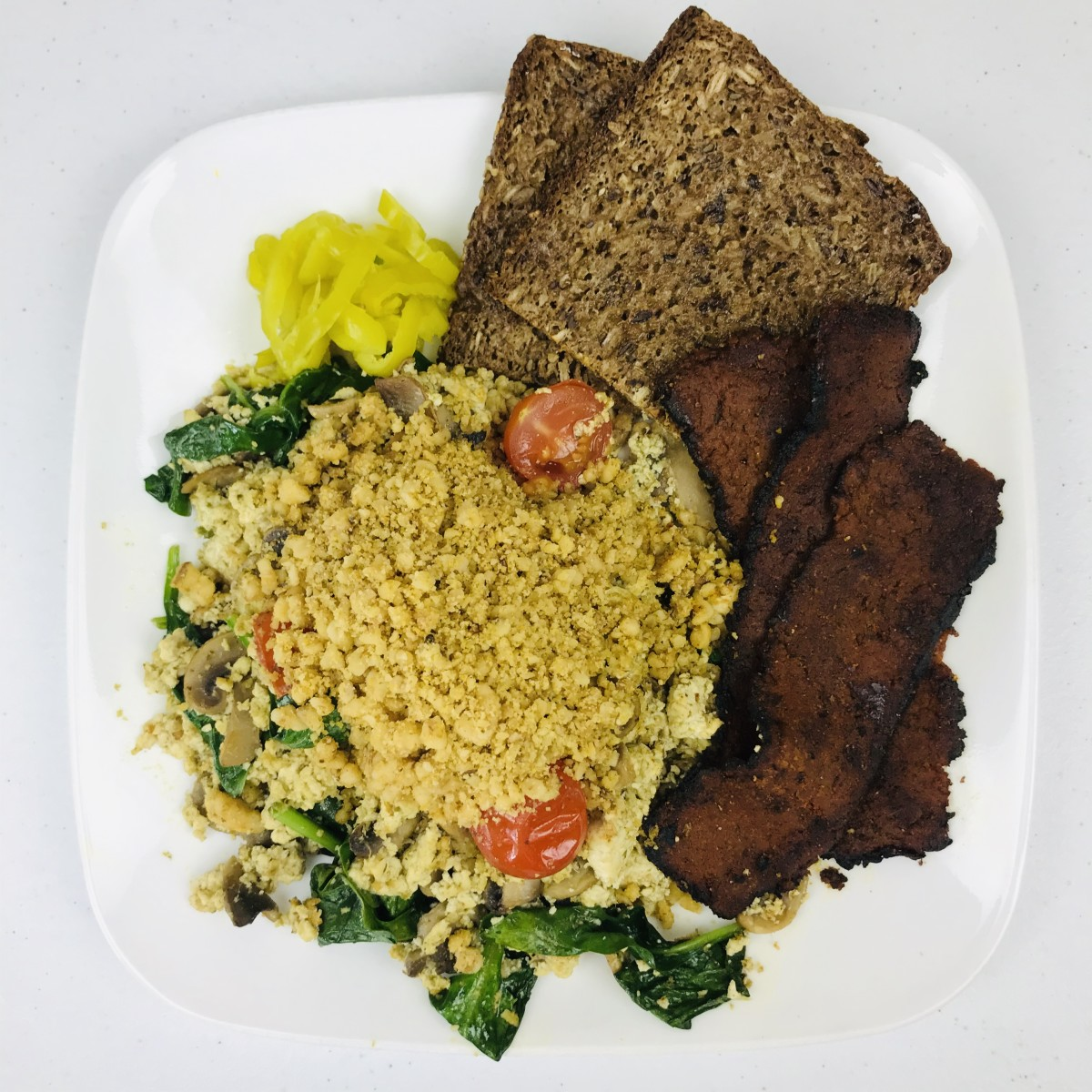 Vegan Breakfast Scramble With Pesto and Walnut Parmesan