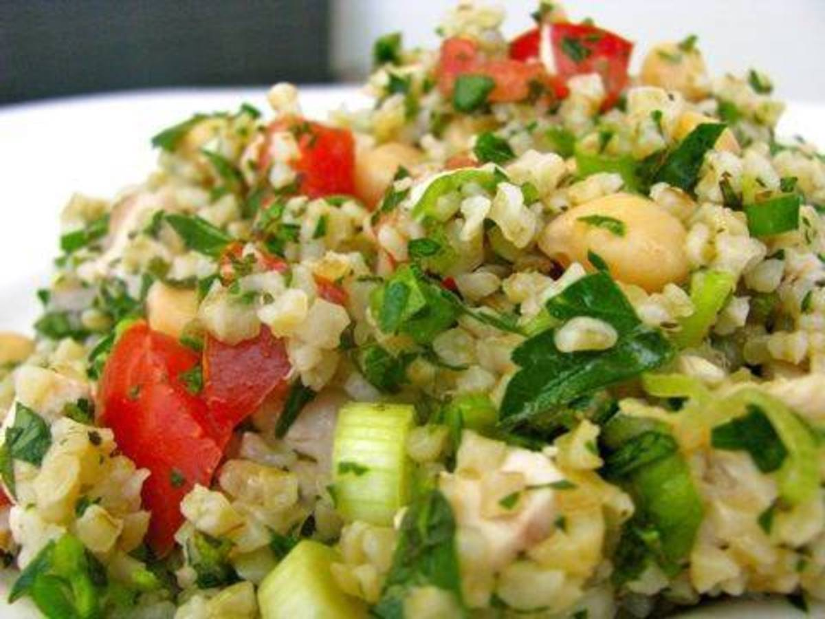 Tabbouleh salad is filled with whole grains, fresh herbs, and vegetables